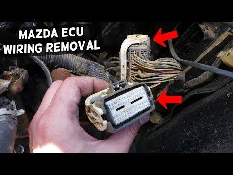 HOW TO DISCONNECT ENGINE COMPUTER WIRES ECU WIRES ON MAZDA 3 6 5 CX7 CX-7  DME ECU ECM WIRING HARNES - YouTubeYouTube