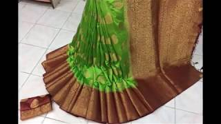 Pure organza silk Saree with Rich pallu & contrast blouse Price Rs.1280/- Contact Details