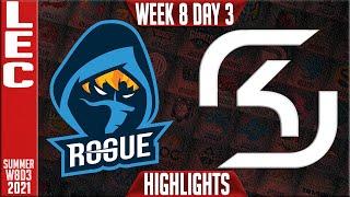RGE vs SK Highlights | LEC Summer 2021 W8D3 | Rogue vs SK Gaming