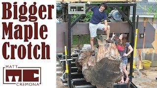Slabbing the Bigger Maple Crotch (Big Logs #5)