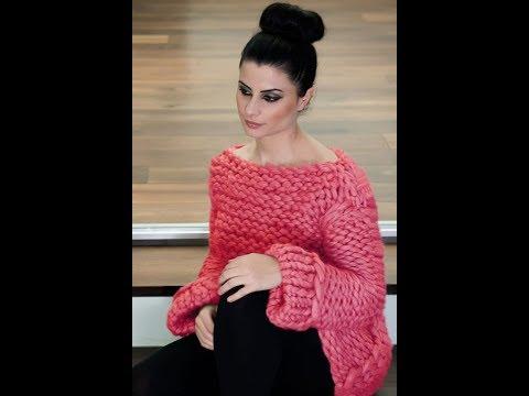 Пуловер из Толстой Пряжи Спицами - 2019 / Pullover Of Thick Yarn / Pullover Aus Dickem Garn