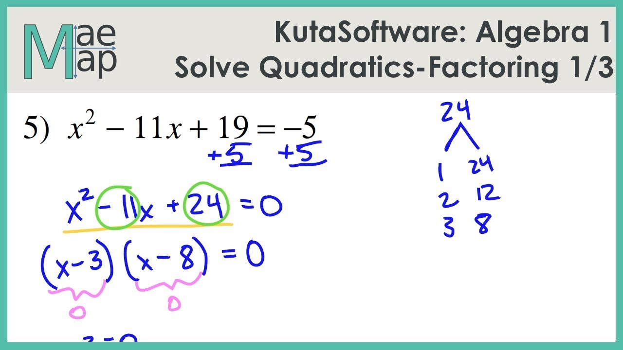 Kutasoftware Algebra 1 Solving Quadratics By Factoring Part 1