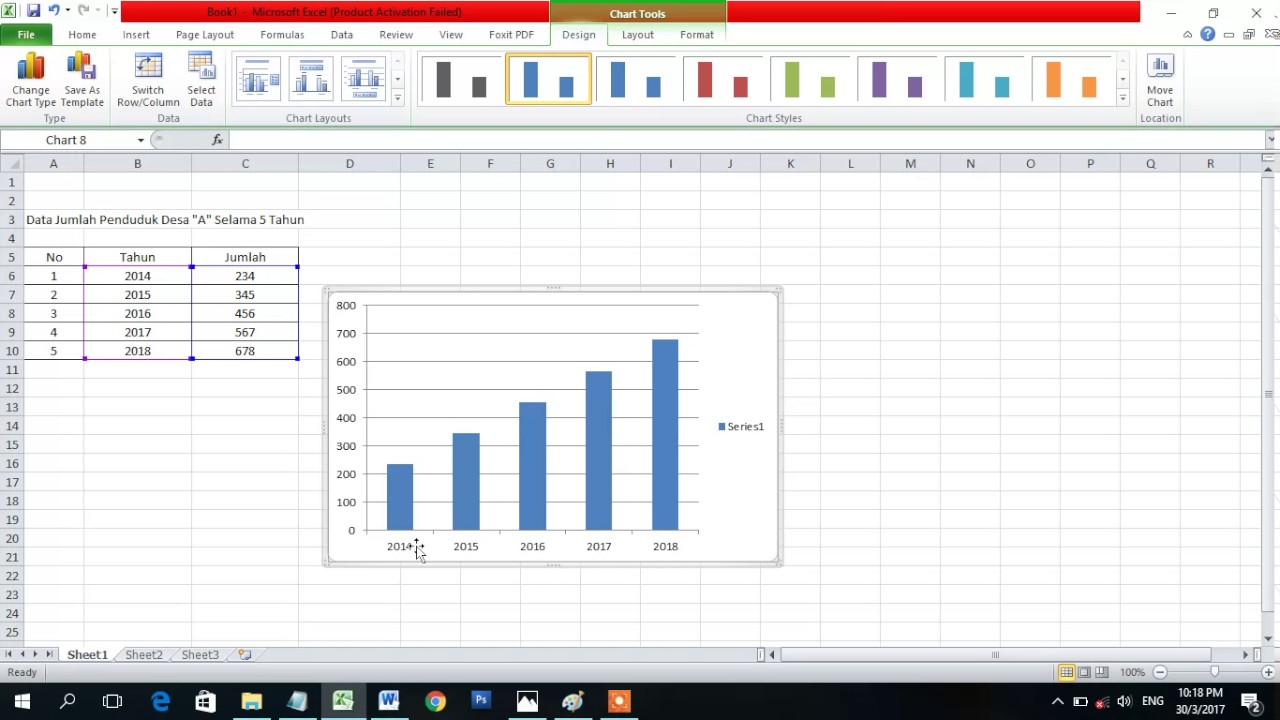 Cara Termudah Membuat Diagram Batang Di Excel Youtube
