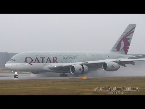 ✈ AWESOME Qatar Airbus A380 Touch And Go   Landing At AIRBUS Hamburg