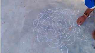How to draw rangoli designs with chalk on floor step by step