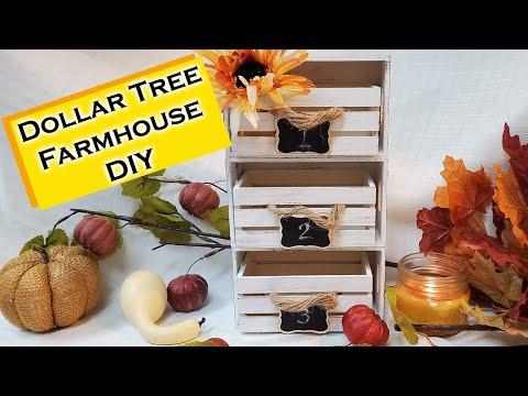 Dollar Tree DIY - Farmhouse Decor Crate Organizer - DIY Storage