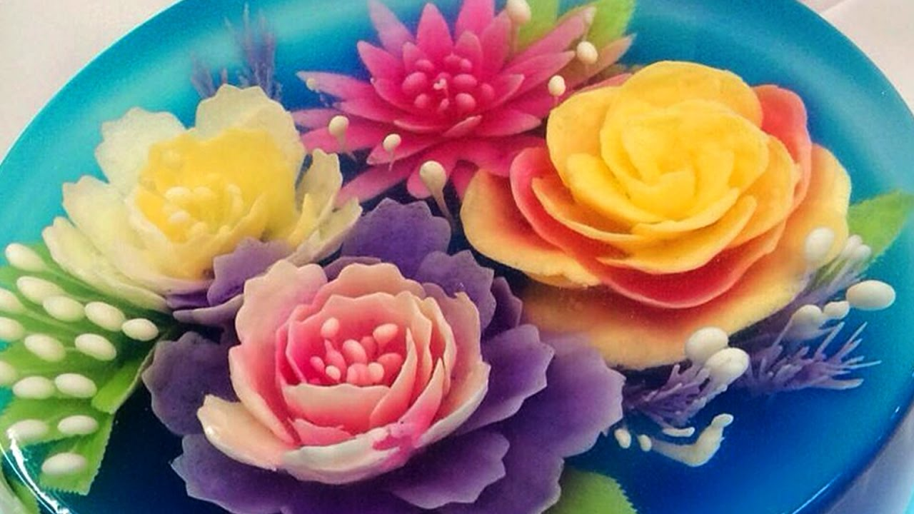 3d Jelly Cake Flower Jelly Cake Youtube
