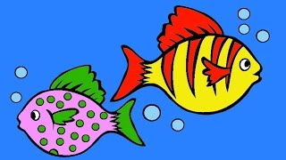 Learn Colors - Colorful Fish Coloring Page - Drawing and Painting for Kids