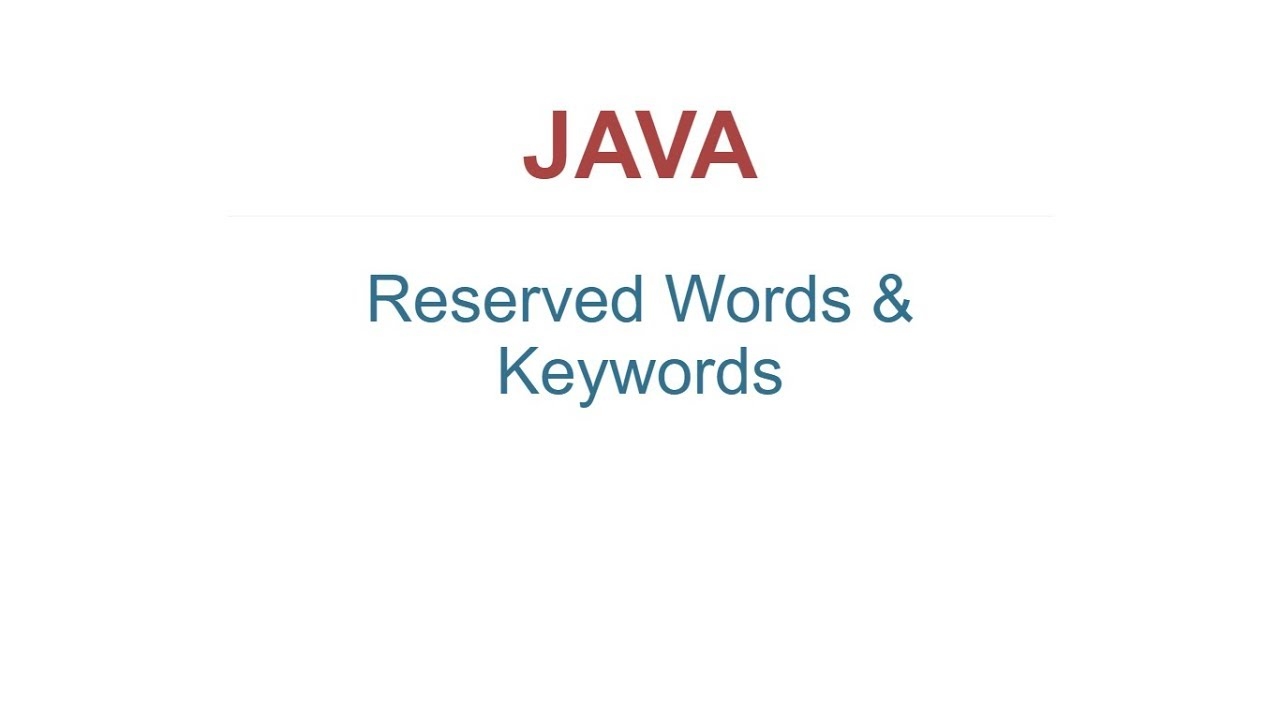 java reserved words and keywords youtube