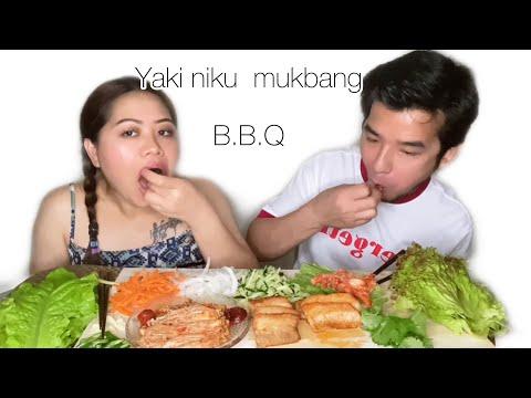 Download Pork Yaki niku with saniレタス🥬/yaki mushroom/kimchi/salad/nepali couple mukbang.Janu&suman.
