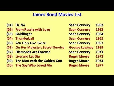 James Bond Movies List