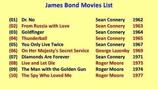 James bond movies list