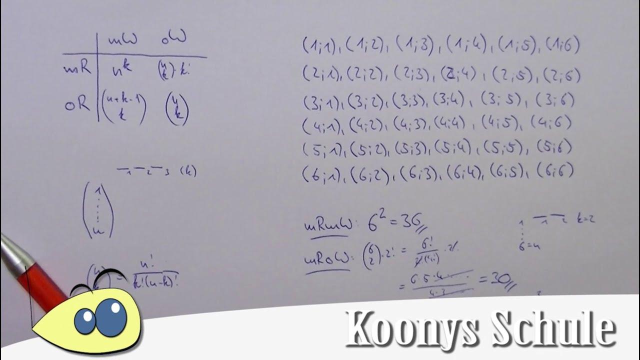 komplette Kombinatork, Beispiel 2 Würfel, alle Formeln ...