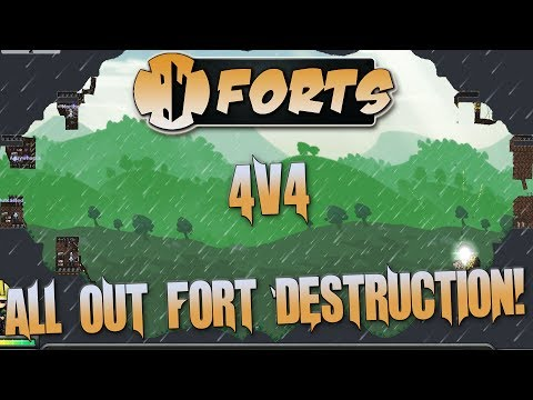 Forts Multiplayer 4v4 Gameplay All 4v4 Maps And All The Crazy Cannon Shots