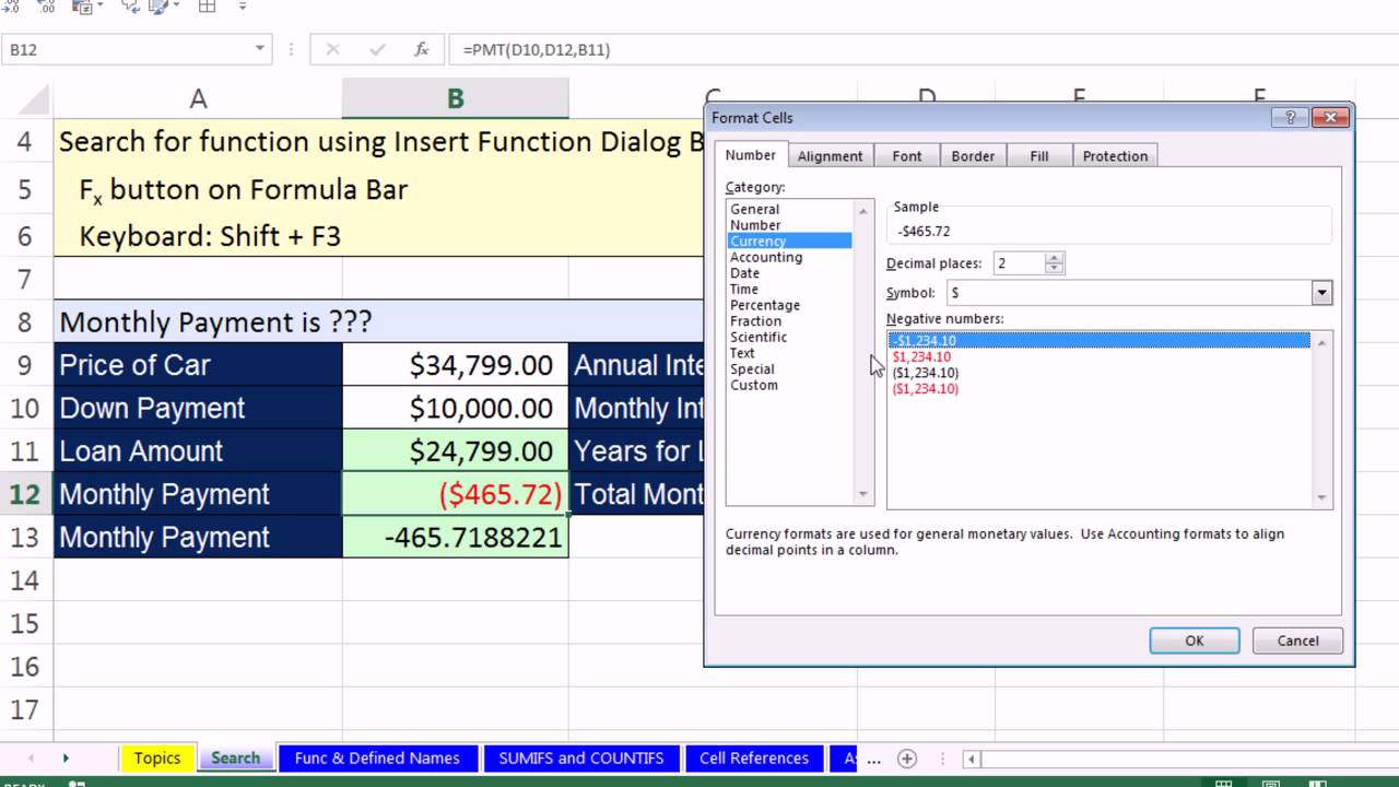 Office 2013 Class #35: Excel Basics 17: Search for Excel Functions: PMT & MEDIAN Functions - YouTube