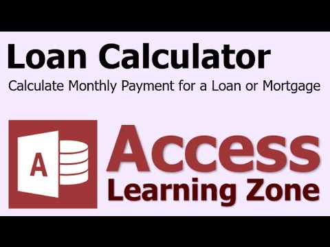Microsoft Access Loan Payment Calculator PMT Function