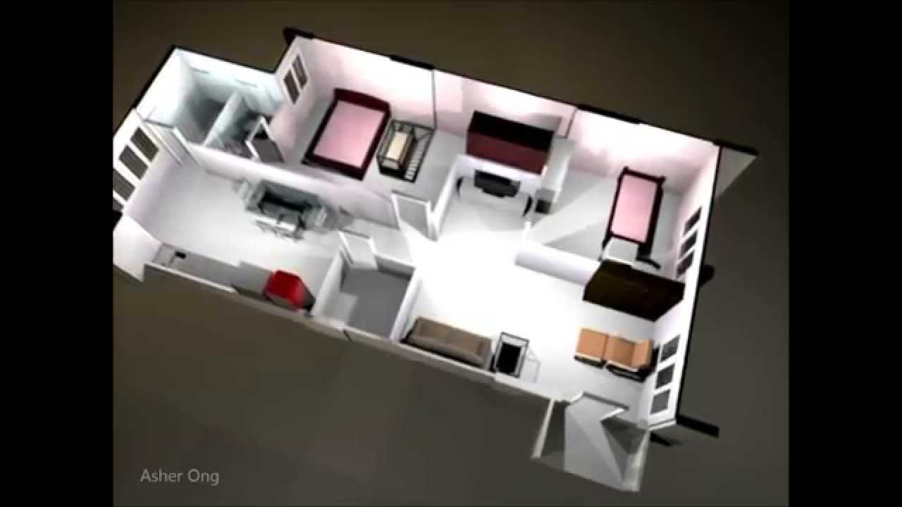 Hdb 3ng Modified Corner Floor Plan 3 Room Flat 3d
