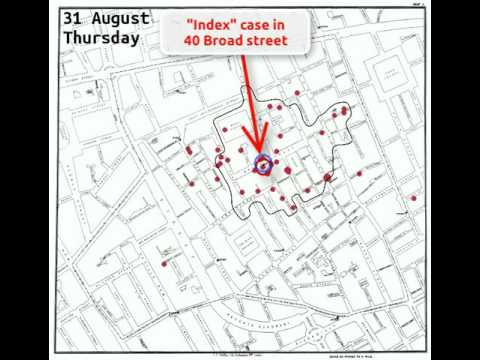 An animation of the 1854 cholera outbreak in Soho