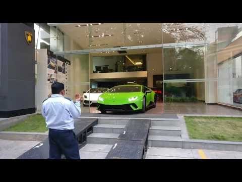 Lamborghini Huracan Performante driving out of showroom!