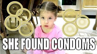 TODDLER FINDS CONDOMS