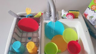 Toy real  wash up kitchen sink unboxing & play|shapes glitter painting