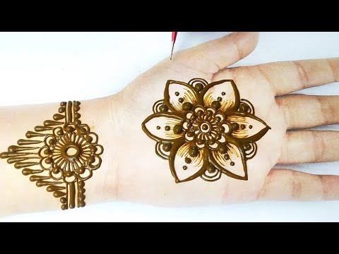 Simple Flower mehndi Design on Hands with dots - आसान फ्लावर मेहँदी लगाना सीखे - Stylish Meahndi
