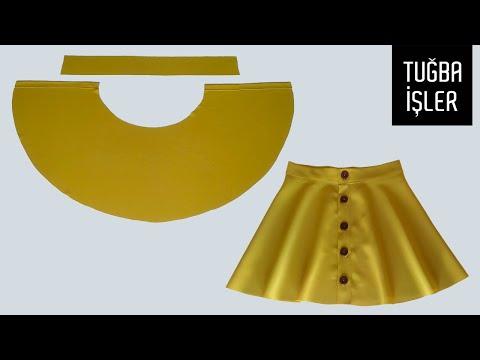 Button Front Flared Skirt Cutting and Sewing | Tuğba İşler