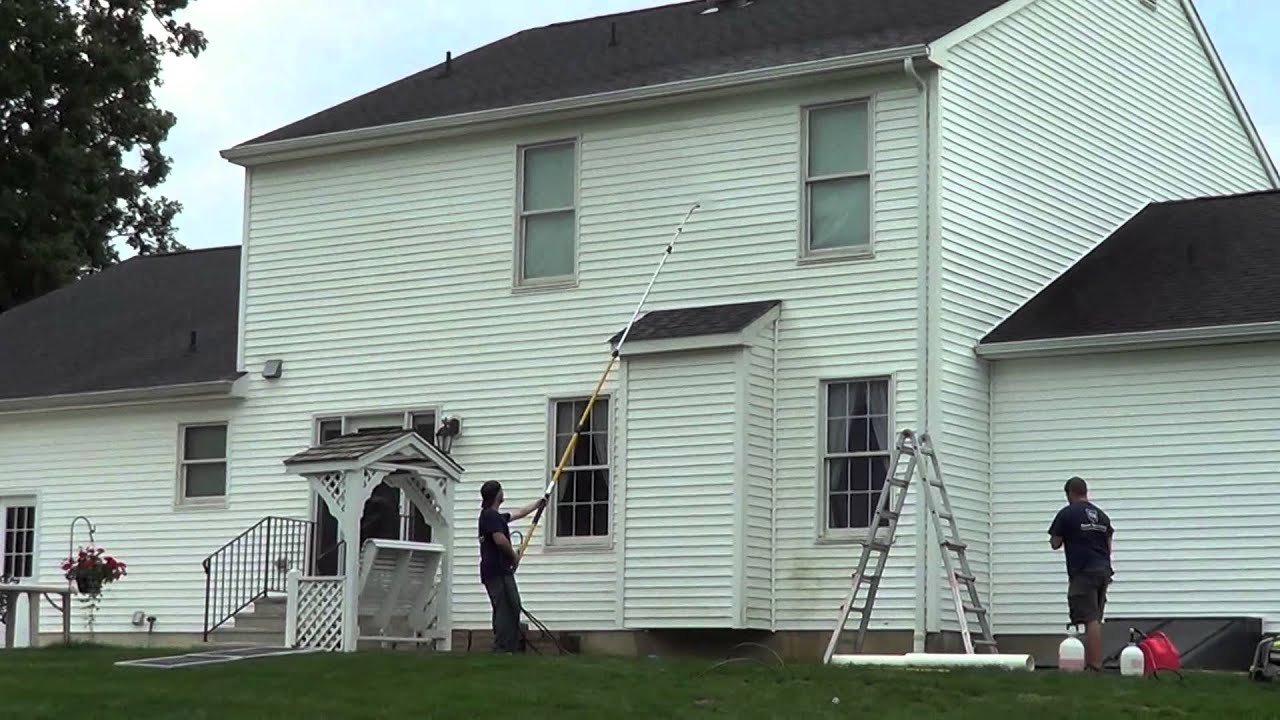 No Ladder Needed For A 2 Story House Pressure Wash Job And