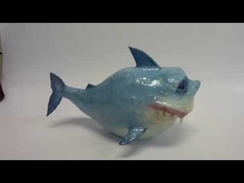 DIY: how to make an easy paper mache shark sculpture