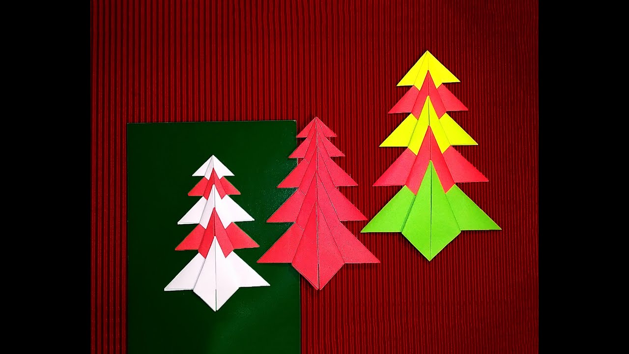 easy origami christmas tree paper christmas tree christmas card decoration youtube - Christmas Tree Card