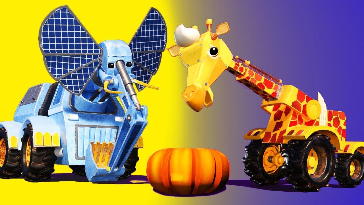 Thanksgiving: The CRANE JERAPAH dan EXCAVATOR GAJAH  memakan pai labu - kartun dengan Truk - truk