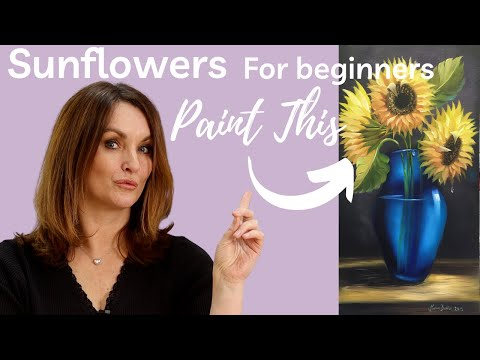 Paint With Maz - Sunflowers In Blue Vase - Full step by step tutorial