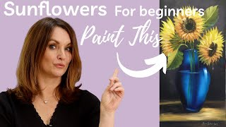 Paint With Maz - Sunflowers In Blue Vase - Full step by step tutorial(, 2016-06-04T17:56:34.000Z)