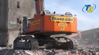 Wyburzanie budynków PREABETU, Kraków ul. Galicyjska
