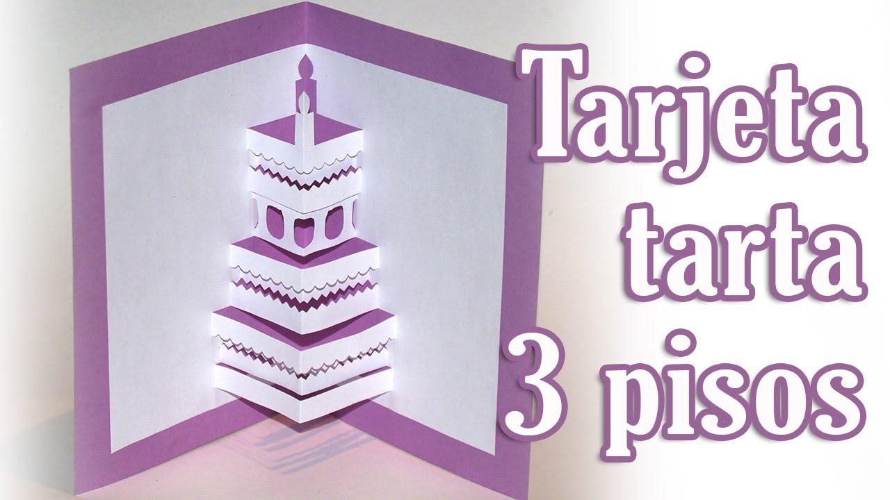 Tarjeta tarta de 3 pisos pop up - DIY - Cake pop up card 3 floors ...