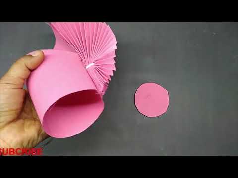 Making paper flower vase   simple paper craft   DIY paper vase   Paper flower