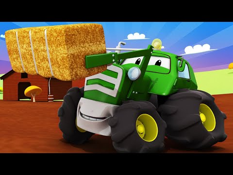 Tom the Tow Trucks Car Wash -  Ben the TRACTOR is Covered With APPLES And EGGS - Trucks cartoons