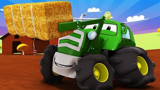 Tom the Tow Truck's Car Wash -  Ben the TRACTOR is Covered With APPLES And EGGS - Trucks cartoons
