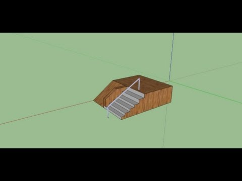 Google Sketchup 8 - How to Create Stairs with a Rail (SkatePark)