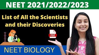 All Scientists and their Discoveries | NEET BIOLOGY | pdf