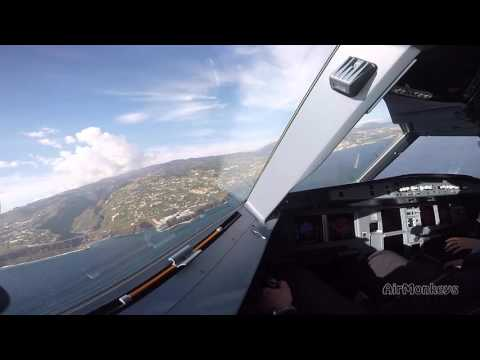 Great Funchal/Madeira Airbus A320 Landing - watch the Sidestick-work