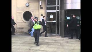 Adam Johnson runs into Bradford Crown Court ahead of his sentencing