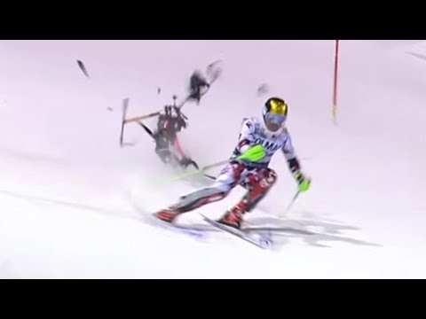 Slalom skier Marcel Hirscher almost hit by big camera drone.