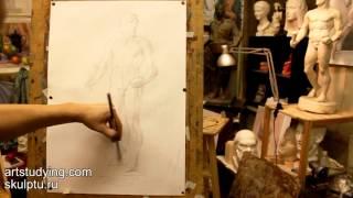 Обучение рисунку. Фигура.8 серия: рисунок гипсовой фигуры Геракла.