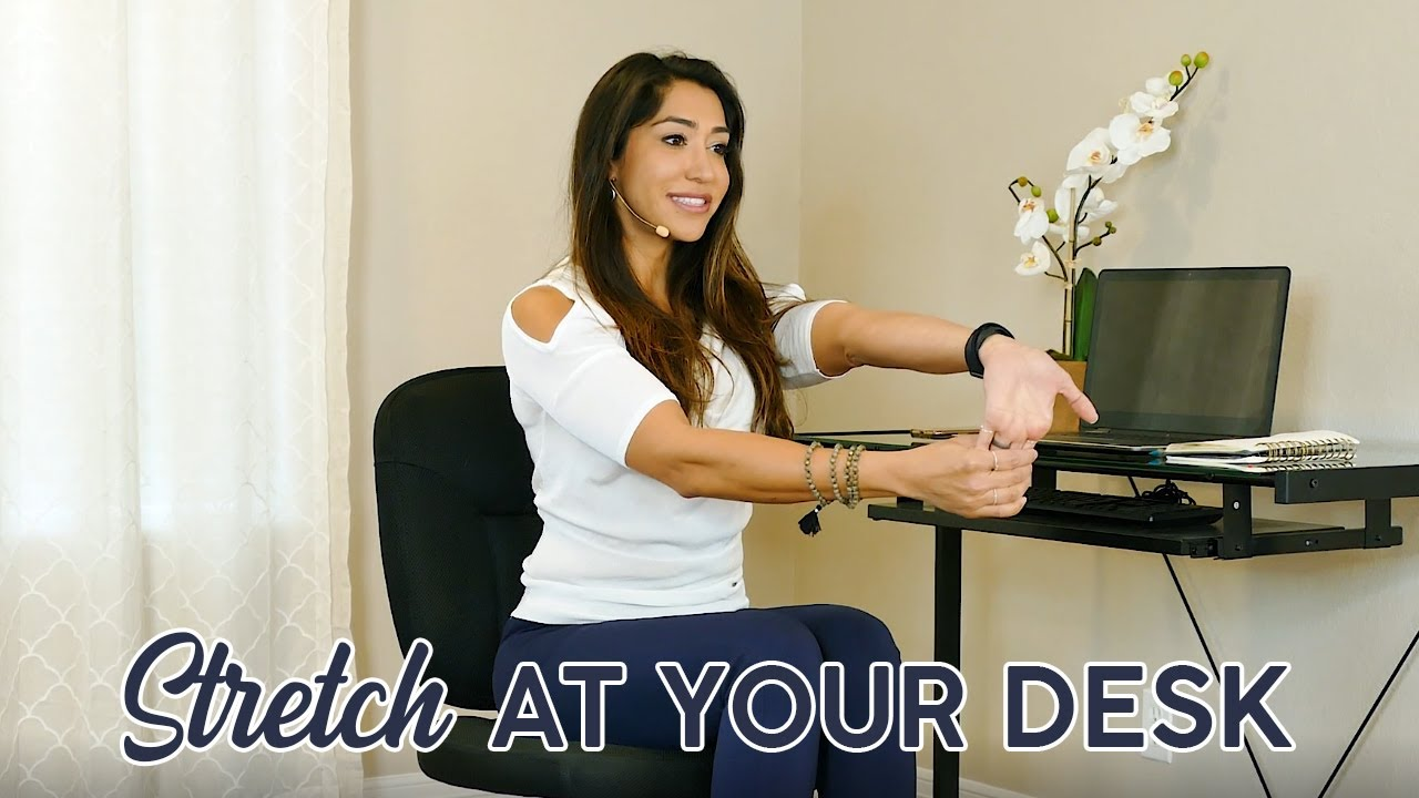 Relieve Neck Pain & Tense Shoulders: Stretch at Your Desk ♥ 10 Mins, Chair Yoga Beginners Stretc