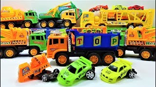 How dismantle the super truck and car with giant truck, truck toys and car toys for kids