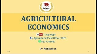 Agriculture Economics for AFO, NABARD, RRB, JRF, All agriculture competitive exams