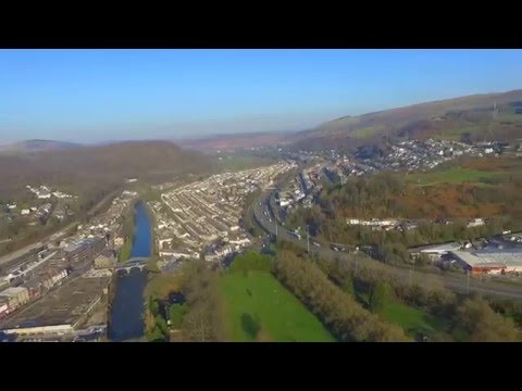 Aerial view over Pontypridd and Ponty Lido - Drone