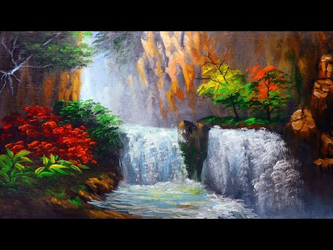 HOW TO PAINT Water falls and Autumn Trees | ACRYLIC PAINTING FOR BEGINNERS | FULL PAINTING TUTORIAL