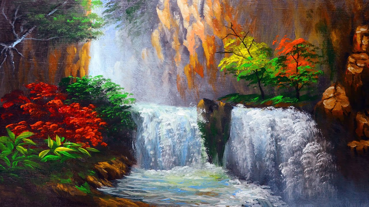 How To Paint Water Falls And Autumn Trees Acrylic